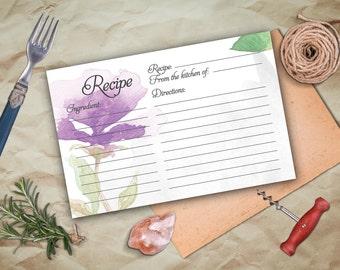 Bridal Recipe Card Printable. Instant Download Recipe Card. Watercolor Floral Recipe Card.