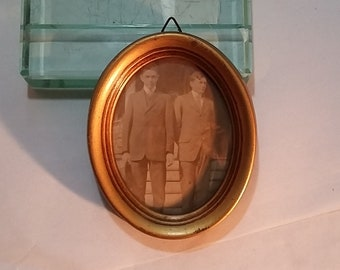 Vintage Very Small Oval Wooden Frame, Convex Glass