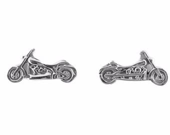 Woman's Stainless Steel Silver Motorcycle Earrings Heavy Metal Jewelry