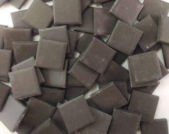 Ceramic mosaic tiles, 25x25 mm (1 inch), Matt Midnight Black