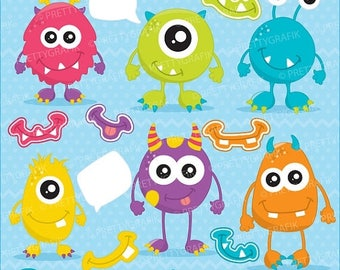 80% OFF SALE monster fun clipart commercial use, vector graphics, digital clip art, digital images - CL654