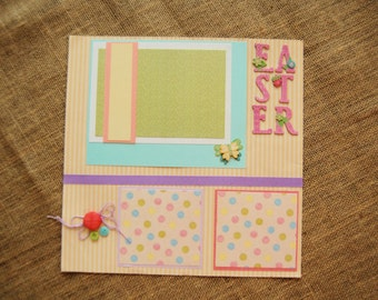 12x12 Premade Easter Scrapbook Page Layout