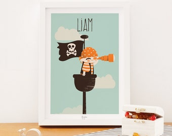 custom art print for kids  - pirate poster - The Pirate Collection - the Watcher