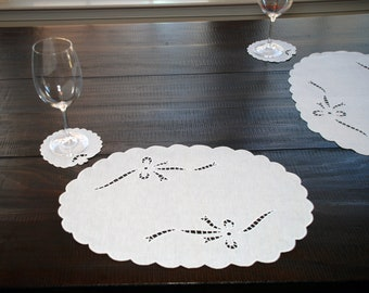 "Sicilian Linen ""Intaglio"" Big Plate Mat"