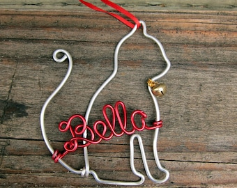 Personalized Cat Ornament / Wire Ornament/ Christmas Ornament / Holiday Ornament/ Holiday Gift / Couples Gift