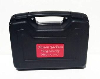 Ring Bearer Briefcase, Ring Bearer Gift, Ring Bearer Case, Ring Security, Wedding, Engraved Gift, Red Plate