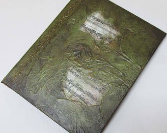 Handmade Journal Refillable Green Music Textured 9x7 Original traveller notebook fauxdori