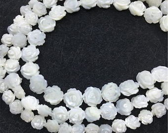 10pcs Mother Of Pearl Flower Beads ,Flower Beads , Pearl Flower jewellery 8mm 10mm or  12mm