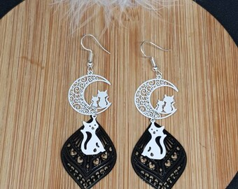 Cat on white and Black Moon earrings
