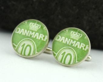 Green Cufflinks for Men. Handmade Silver Cufflinks from Vintage Danish Stamps. Perfect Denmark Cufflinks, Ideal as Unique Wedding Cufflinks.
