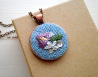 Floral Embroidery Necklace - Embroidered Wildflowers Necklace - Retro Chic Hand Stitched Flower Collage Fiber Jewelry - Holiday Gift For Her