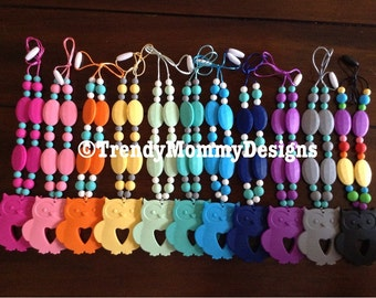 Trendy OWL Silicone Teething / Nursing Necklace for Mommy! Made with BPA, lead & Metal Free Silicone! Great Baby Shower Gift!