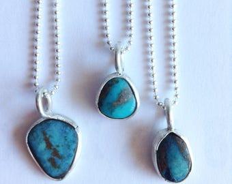 """Arizona Turquoise Necklace - 16"""" Turquoise Necklace - December Birthstone Necklace - Simple Turquoise Necklace"""