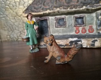 Georg Heyde Lead Fox , Vintage Lead Fox , Lead Toy , Britain's type