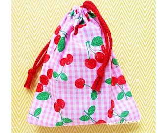 Small Tote Bag Drawstring Pouch Party Favor Reusable Gift Bag Cotton Cosmetic Bags Red Cherry Pink Gingham