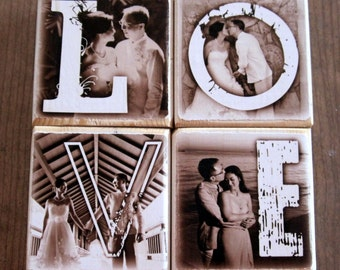 Personalized Decor for the Bride and Groom- LOVE xoxo HOME- set of four letter blocks