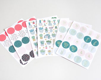 210 plant stickers, bujo stickers, planner stickers, journal stickers, cactus stickers, sticker seals, pink stickers, monstera stickers