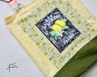 Patchwork Lemons Reversible Shopping Bag - Lemons and Stripes Eco Friendly Market Tote