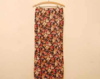 Black Floral Print Maxi-Skirt - Early 90s