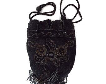 Art Deco Handbag, Vintage Beaded Purse, Black Evening Bag, F. H. & Co. Handbag, Belgian Art Deco Pocketbook