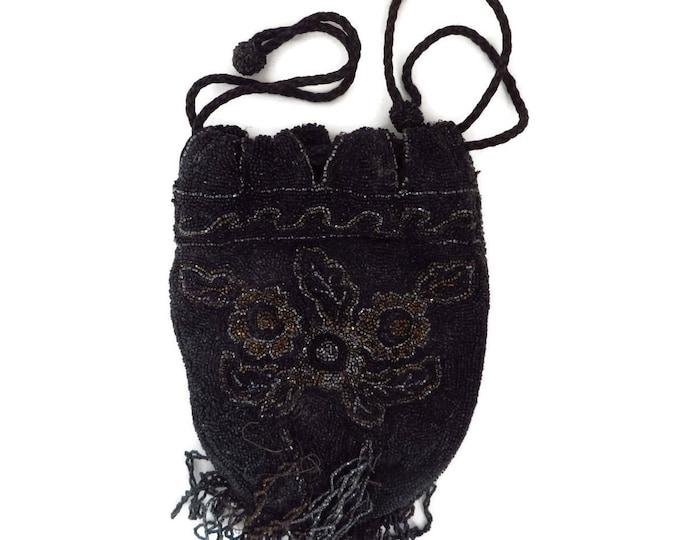 F. H. & Co. Vintage Beaded Purse - Belgium 1930s-40s Art Deco Pocketbook, Handbag, Evening Bag