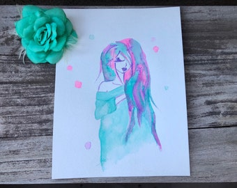 Pastel Girl 9 x 12 Big Eyed Watercolor Painting, Pastel, Modern, Wall Art, Painting, Dollie, Big Eyed Girl, pastel goth