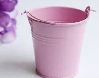 Mini buckets. Pink Craft buckets. Wedding favours. Craft Metal Buckets Mini singles