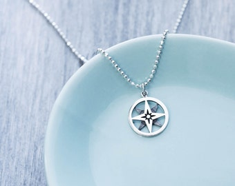 North Star Compass Necklace in Sterling Silver, Compass Necklace for Women, North Star Necklace, Small Compass Necklace, North Star Jewelry