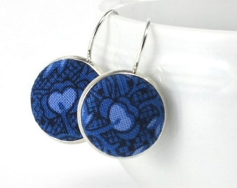 Drop Earrings, Blue Flowers On Blue, Silver Toned Leverback Earrings, Cyan and Black Fabric Covered Buttons Jewelry, Fabric Button Earrings