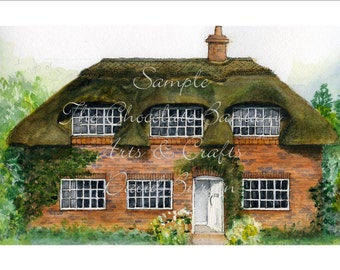 Watercolour Art Print Rose Cottage by David Burgin Architectural Illustration Drawing Painting Kent English Countryside Houses Buildings