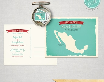 Destination wedding invitation Mexico Los Cabos Cabo San Lucas Save the Date save the date postcard Mexican map aqua teal DEPOSIT PAYMENT