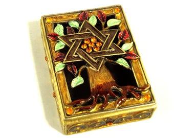 Brown amber enamel Tree of Life jewelry box