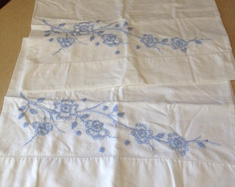 Set of Vintage Pillowcases White with Blue Embroidered Flowers