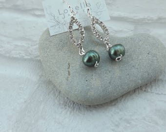 Earrings Dangle Drop Sterling Silver Pearl Green