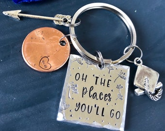 Graduation Key Chain| 2018 Keychain | Oh the places you'll  go Keychain | Hand Stamped |graduation | graduation gift | class of 2018