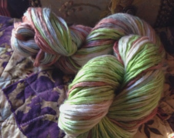 A Walk in the Park recycled yarn hand dyed, machine washable wool/acrylic blend approx 100 yds