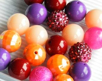 DIY Beads 20 Bubblegum Beads, Fashion Colors 2017, Round 20mm Beads Jewelry Making Bulk Bead Lot
