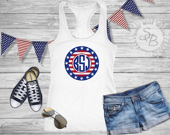 Stars and Stripes Monogram Shirt / Personalized Ladies 4th of July Shirt / Patriotic Ladies Shirt / Bella Canvas Muscle / Next Level Tank