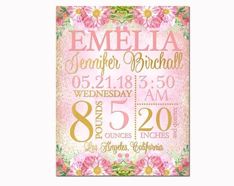 Floral Nursery art personalized baby girl custom birth stats details statistics announcement wall decor newborn toddler shower gift pink