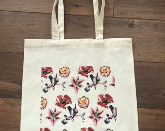 Flower mono print natural cotton tote bag