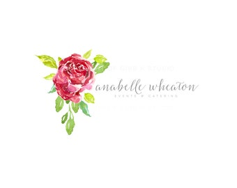 Floral Affordable Custom Logo - red roses Branding - Marketing - logo design - event design - photography logo - BL158B