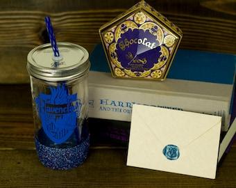 Ravenclaw Glass Tumbler// Hogwarts House Tumbler // Harry Potter Gift Set