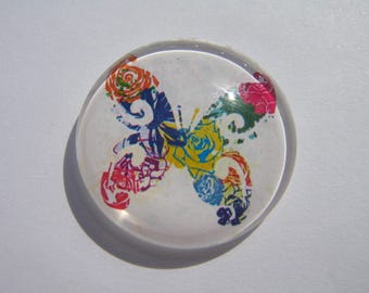 Cabochon 30 mm round domed with a multicolored butterfly image