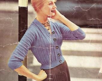 PDF DOWNLOAD - Vintage Knitting Pattern - Ladies Cardigan//Sweater 3 sizes