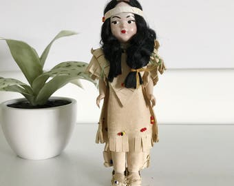 Vintage Small Native American Indian Doll, Black Braided Hair, Pastic Body, Moveable, Painted Face