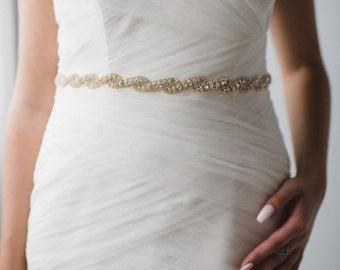 Bridal Belt   Gold Belt   Gold Bridal Belt   Gold Bridal Sash   Thin Bridal Belt   Skinny Bridal Belt   Wedding Sash Belt   Bridget Belt