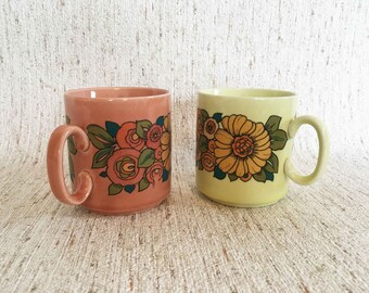 Set of two vintage retro mugs yellow and pink with floral print from Wagner Porzellan