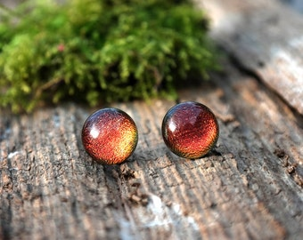 Red - copper glass stud earrings - dichroic glass earrings - glass earring studs - tiny stud earrings - Surgical steel studs