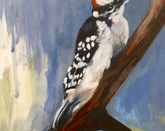 Work, work, work... (Downy Woodpecker), bird art, bird watching, bird painting, woodpecker, woodpecker painting