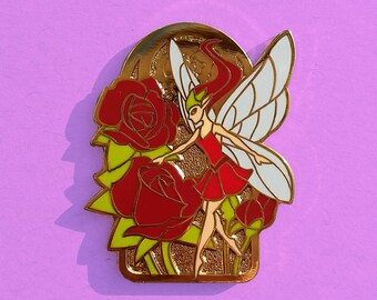 Fairy Pin - Rose Flower Hard Enamel - Art Nouveau - Valentine Gift Elegant